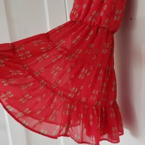 CITY TRIANGLES red tank tiered dress size small